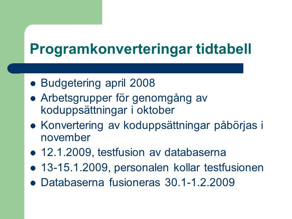 Programkonverteringar tidtabell Budgetering april 2008 Arbetsgrupper för genomgång av koduppsättningar i oktober Konvertering av koduppsättningar påbörjas i november 12.1.2009, testfusion av databaserna 13-15.1.2009, personalen kollar testfusionen Databaserna fusioneras 30.1-1.2.2009