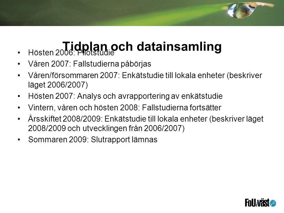 Tidplan och datainsamling Hösten 2006: Pilotstudie Våren 2007: Fallstudierna påbörjas Våren/försommaren 2007: Enkätstudie till lokala enheter (beskriv