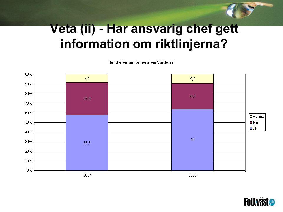 Veta (ii) - Har ansvarig chef gett information om riktlinjerna?