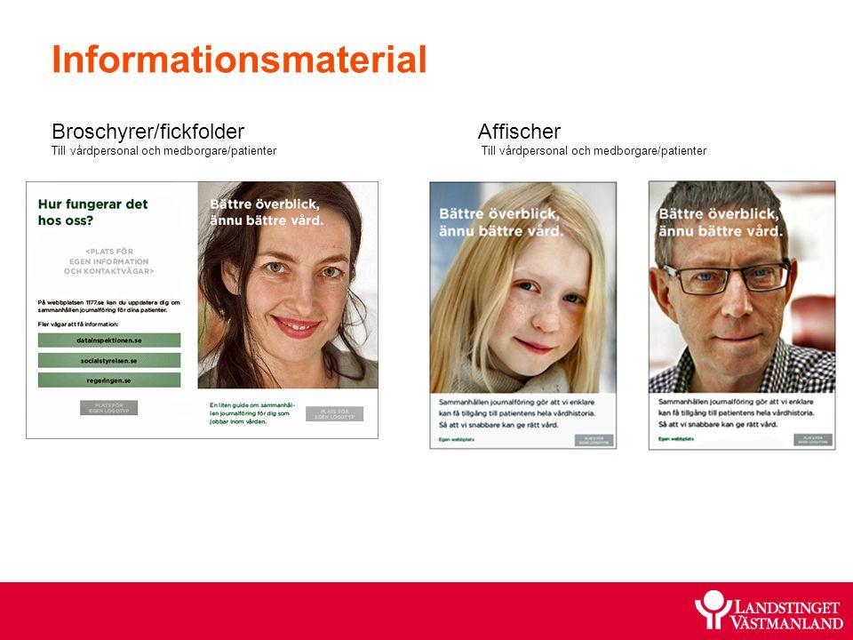Informationsmaterial Broschyrer/fickfolderAffischer Till vårdpersonal och medborgare/patienter