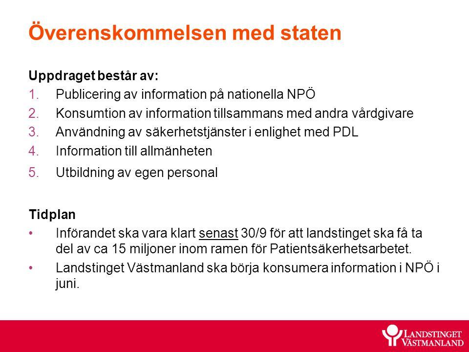 Överenskommelsen med staten Uppdraget består av: 1.Publicering av information på nationella NPÖ 2.Konsumtion av information tillsammans med andra vård