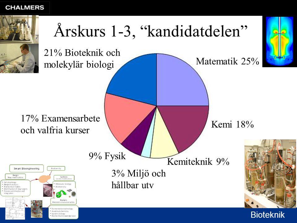 Bioteknik Matematik 25% Kemi 18% Kemiteknik 9% 3% Miljö och hållbar utv 9% Fysik 17% Examensarbete och valfria kurser 21% Bioteknik och molekylär biologi Årskurs 1-3, kandidatdelen