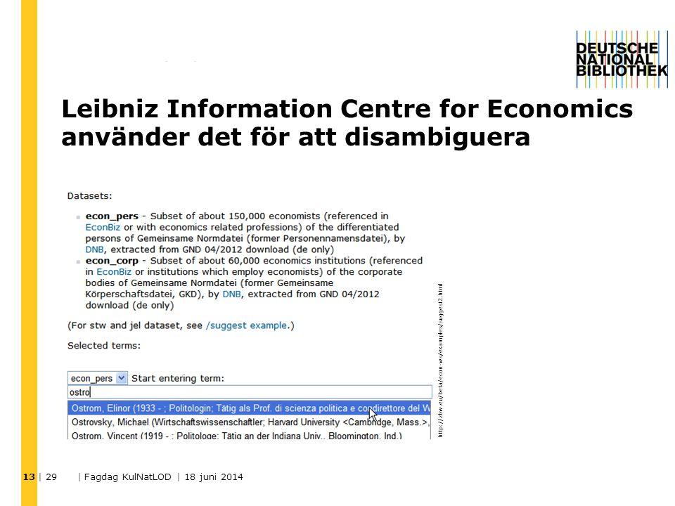 13 http://zbw.eu/beta/econ-ws/examples/suggest2.html Leibniz Information Centre for Economics använder det för att disambiguera | 29 | Fagdag KulNatLO