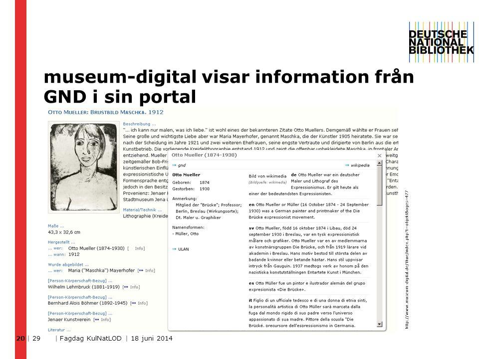 museum-digital visar information från GND i sin portal | 29 | Fagdag KulNatLOD | 18 juni 2014 20 http://www.museum-digital.de/thue/index.php?t=objekt&