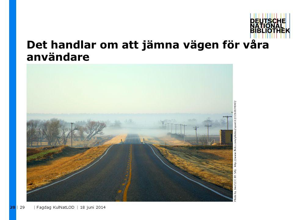 Det handlar om att jämna vägen för våra användare | 29 | Fagdag KulNatLOD | 18 juni 2014 28 Photo by Jinx! (CC BY-SA): http://www.flickr.com/photos/sp