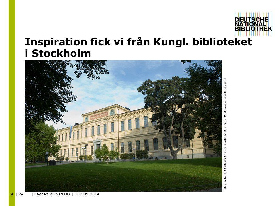Inspiration fick vi från Kungl. biblioteket i Stockholm | 29 | Fagdag KulNatLOD | 18 juni 2014 9 Picture by Kungl. biblioteket: http://farm5.static.fl