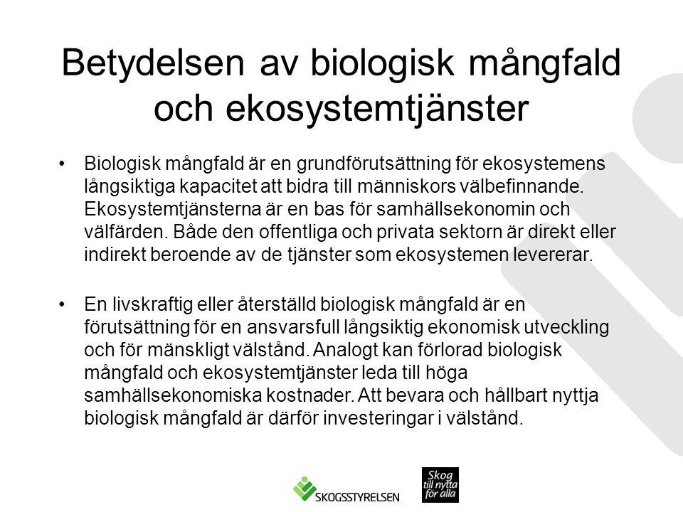 Betydelsen av biologisk mångfald och ekosystemtjänster Biologisk mångfald är en grundförutsättning för ekosystemens långsiktiga kapacitet att bidra till människors välbefinnande.