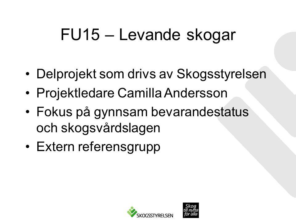 FU15 – Levande skogar Delprojekt som drivs av Skogsstyrelsen Projektledare Camilla Andersson Fokus på gynnsam bevarandestatus och skogsvårdslagen Extern referensgrupp