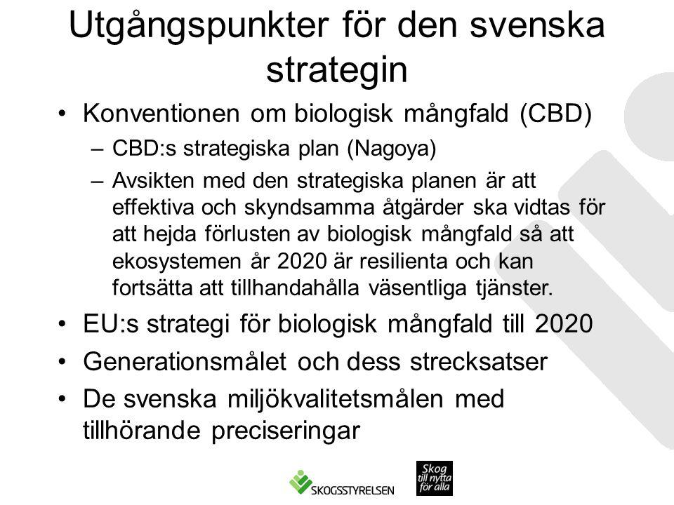 Utgångspunkter för den svenska strategin Konventionen om biologisk mångfald (CBD) –CBD:s strategiska plan (Nagoya) –Avsikten med den strategiska planen är att effektiva och skyndsamma åtgärder ska vidtas för att hejda förlusten av biologisk mångfald så att ekosystemen år 2020 är resilienta och kan fortsätta att tillhandahålla väsentliga tjänster.