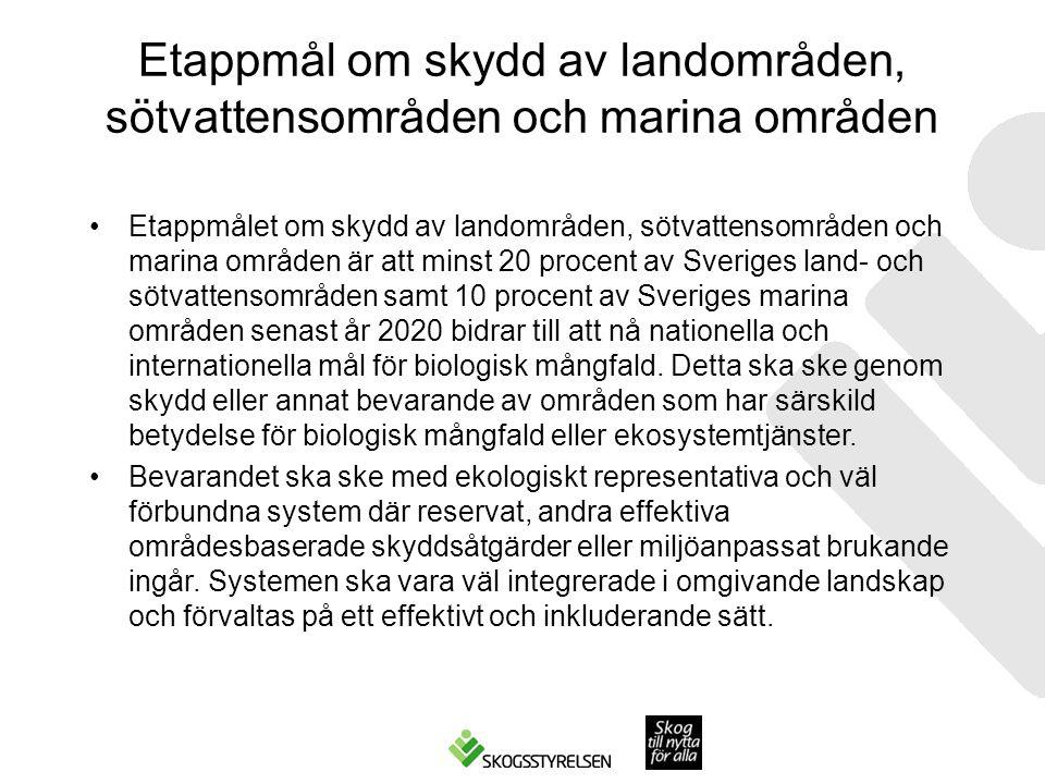 Etappmål om skydd av landområden, sötvattensområden och marina områden Etappmålet om skydd av landområden, sötvattensområden och marina områden är att minst 20 procent av Sveriges land- och sötvattensområden samt 10 procent av Sveriges marina områden senast år 2020 bidrar till att nå nationella och internationella mål för biologisk mångfald.