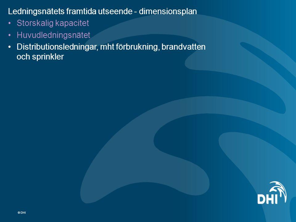 © DHI Ledningsnätets framtida utseende - dimensionsplan Storskalig kapacitet Huvudledningsnätet Distributionsledningar, mht förbrukning, brandvatten o