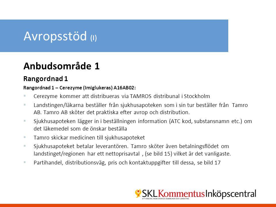 Avropsstöd (I) Anbudsområde 1 Rangordnad 1 Rangordnad 1 – Cerezyme (Imiglukeras) A16AB02:  Cerezyme kommer att distribueras via TAMROS distribunal i