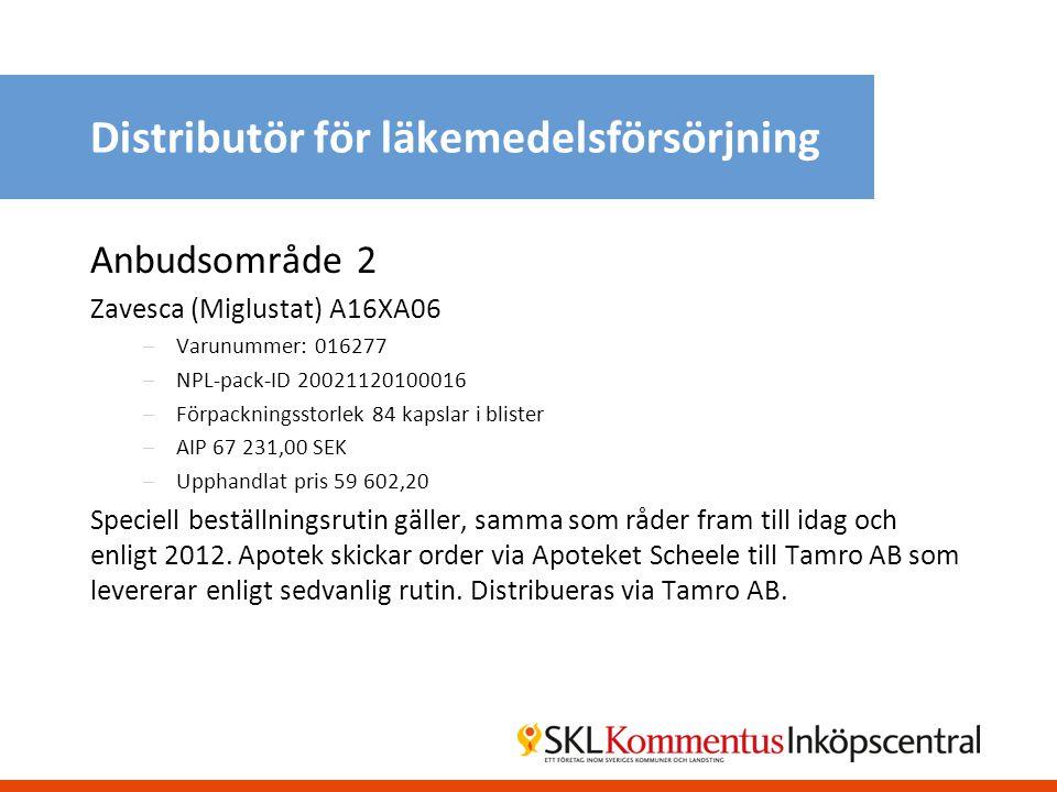Distributör för läkemedelsförsörjning Anbudsområde 2 Zavesca (Miglustat) A16XA06 –Varunummer: 016277 –NPL-pack-ID 20021120100016 –Förpackningsstorlek