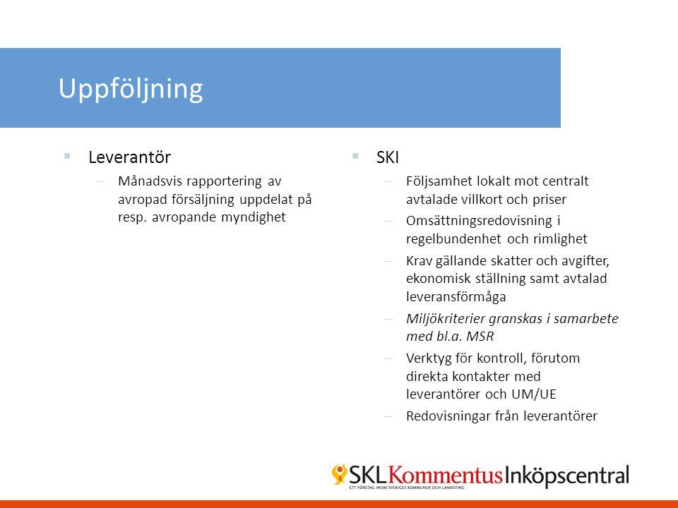 Uppföljning  Leverantör –Månadsvis rapportering av avropad försäljning uppdelat på resp. avropande myndighet  SKI –Följsamhet lokalt mot centralt av