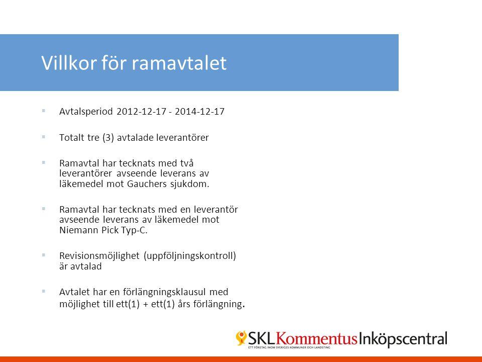 Villkor för ramavtalet  Avtalsperiod 2012-12-17 - 2014-12-17  Totalt tre (3) avtalade leverantörer  Ramavtal har tecknats med två leverantörer avse