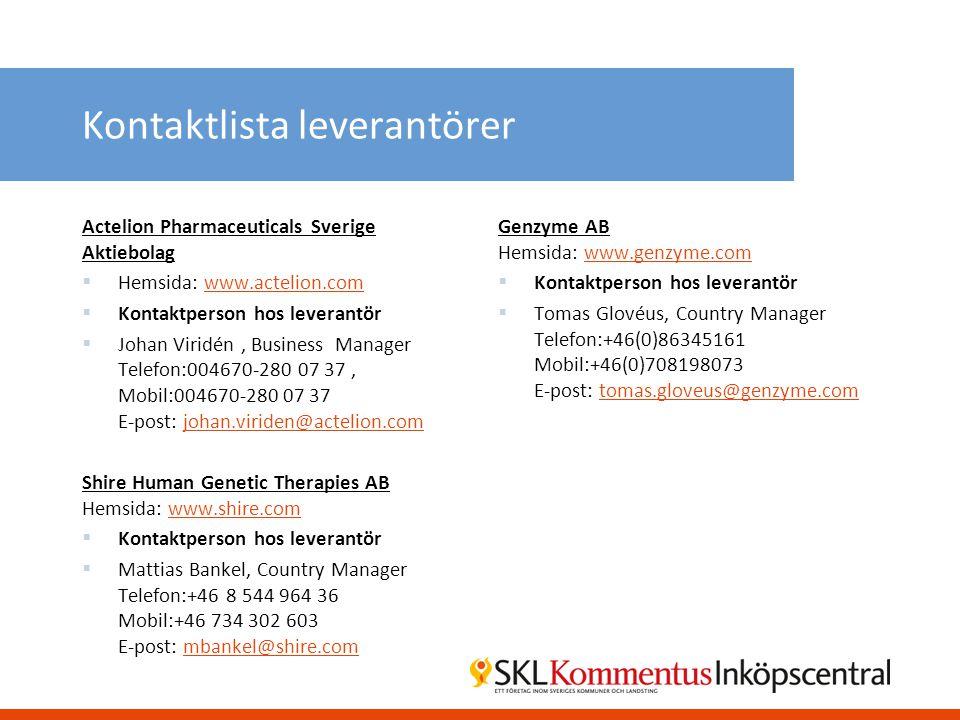 Kontaktlista leverantörer Actelion Pharmaceuticals Sverige Aktiebolag  Hemsida: www.actelion.comwww.actelion.com  Kontaktperson hos leverantör  Joh
