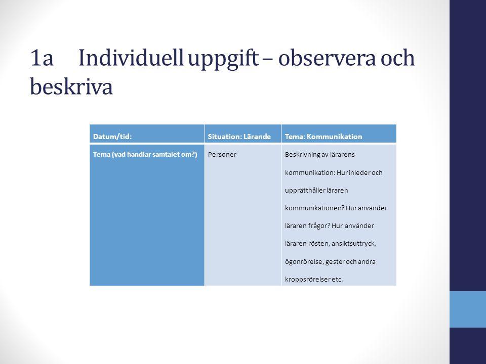 1aIndividuell uppgift – observera och beskriva Datum/tid:Situation: LärandeTema: Kommunikation Tema (vad handlar samtalet om?)PersonerBeskrivning av l
