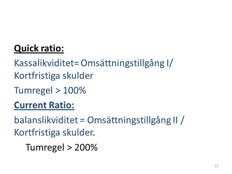 Quick ratio: Kassalikviditet= Omsättningstillgång I/ Kortfristiga skulder Tumregel > 100% Current Ratio: balanslikviditet = Omsättningstillgång II / K