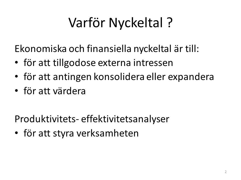 Varför Nyckeltal ? Ekonomiska och finansiella nyckeltal är till: för att tillgodose externa intressen för att antingen konsolidera eller expandera för