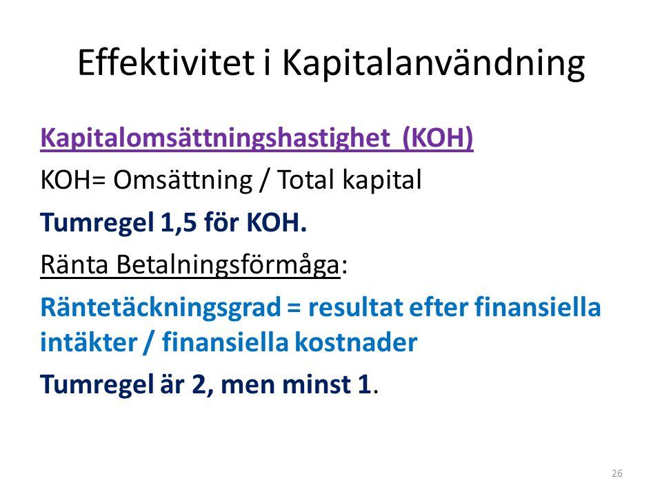 Effektivitet i Kapitalanvändning Kapitalomsättningshastighet (KOH) KOH= Omsättning / Total kapital Tumregel 1,5 för KOH. Ränta Betalningsförmåga: Ränt
