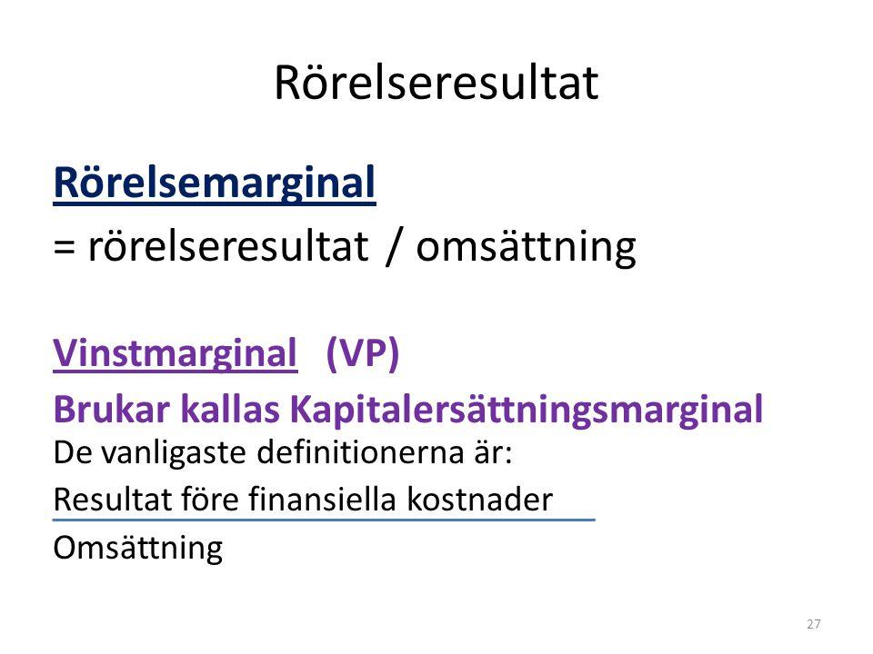 Rörelseresultat Rörelsemarginal = rörelseresultat / omsättning Vinstmarginal (VP) Brukar kallas Kapitalersättningsmarginal De vanligaste definitionern