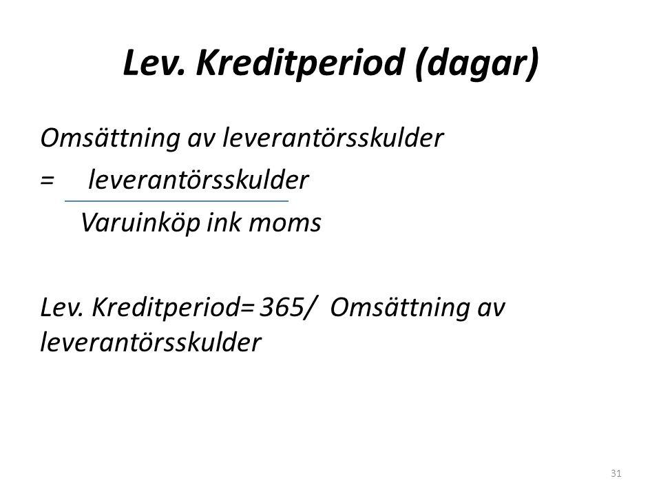 Lev. Kreditperiod (dagar) Omsättning av leverantörsskulder = leverantörsskulder Varuinköp ink moms Lev. Kreditperiod= 365/ Omsättning av leverantörssk