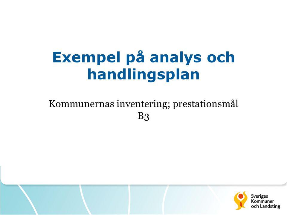 Exempel på analys och handlingsplan Kommunernas inventering; prestationsmål B3