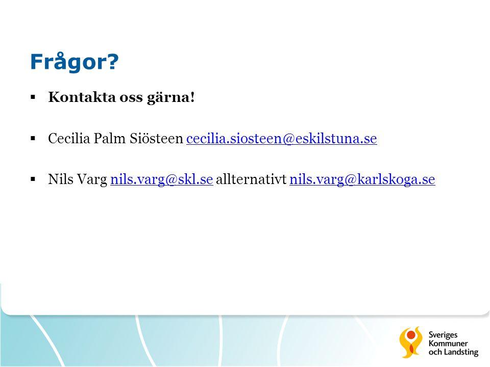 Frågor?  Kontakta oss gärna!  Cecilia Palm Siösteen cecilia.siosteen@eskilstuna.sececilia.siosteen@eskilstuna.se  Nils Varg nils.varg@skl.se allter