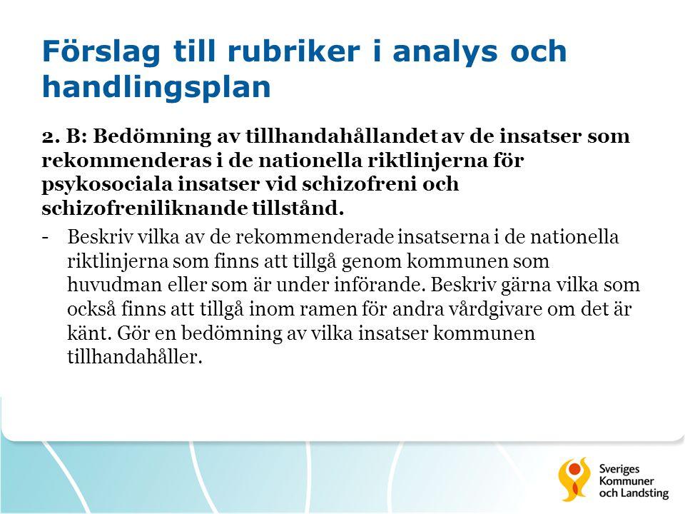 Förslag till rubriker i analys och handlingsplan 2. B: Bedömning av tillhandahållandet av de insatser som rekommenderas i de nationella riktlinjerna f