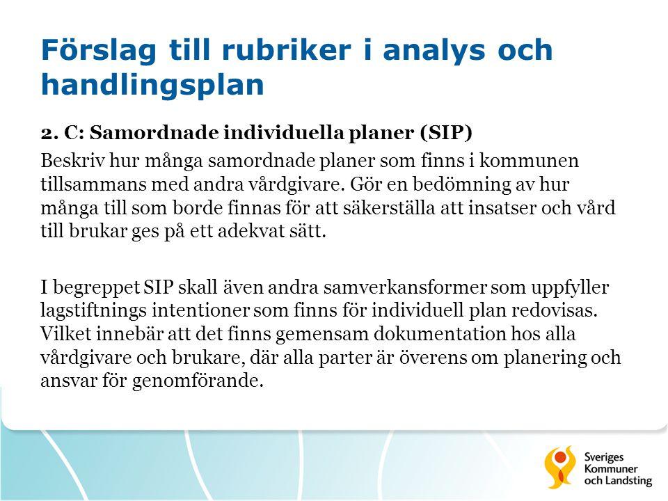 Förslag till rubriker i analys och handlingsplan 2. C: Samordnade individuella planer (SIP) Beskriv hur många samordnade planer som finns i kommunen t
