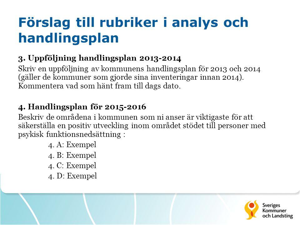 Förslag till rubriker i analys och handlingsplan 3. Uppföljning handlingsplan 2013-2014 Skriv en uppföljning av kommunens handlingsplan för 2013 och 2