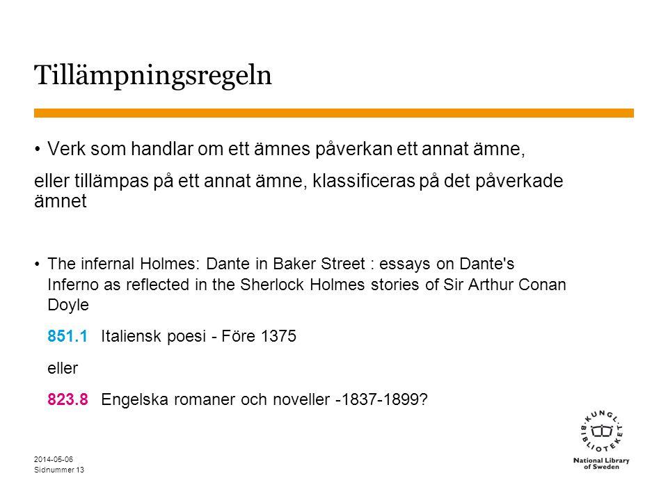 Sidnummer 2014-05-06 13 Tillämpningsregeln Verk som handlar om ett ämnes påverkan ett annat ämne, eller tillämpas på ett annat ämne, klassificeras på det påverkade ämnet The infernal Holmes: Dante in Baker Street : essays on Dante s Inferno as reflected in the Sherlock Holmes stories of Sir Arthur Conan Doyle 851.1Italiensk poesi - Före 1375 eller 823.8Engelska romaner och noveller -1837-1899?