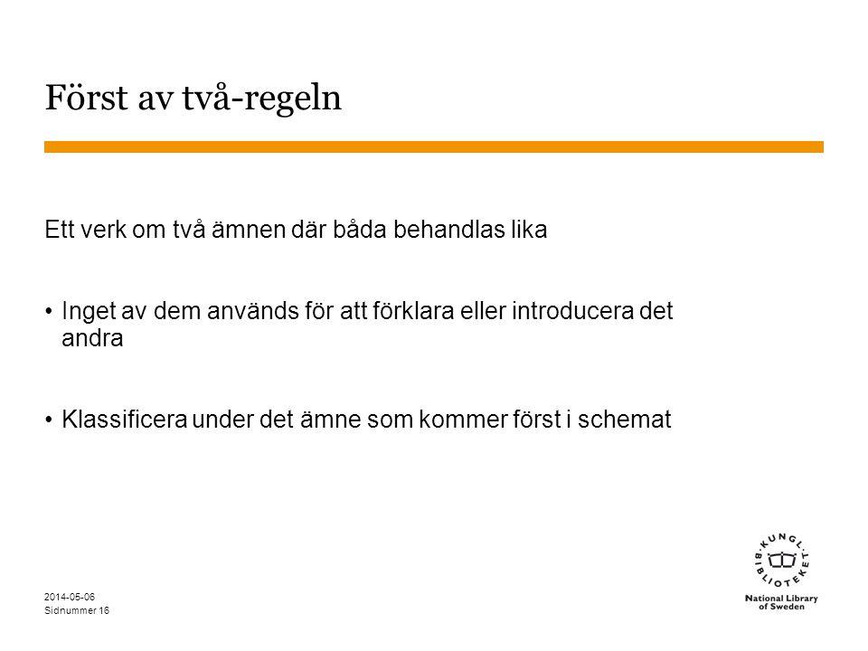 Sidnummer 2014-05-06 16 Först av två-regeln Ett verk om två ämnen där båda behandlas lika Inget av dem används för att förklara eller introducera det andra Klassificera under det ämne som kommer först i schemat