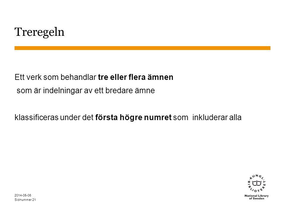 Sidnummer 2014-05-06 21 Treregeln Ett verk som behandlar tre eller flera ämnen som är indelningar av ett bredare ämne klassificeras under det första högre numret som inkluderar alla