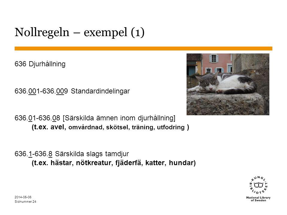 Sidnummer 2014-05-06 24 Nollregeln – exempel (1) 636 Djurhållning 636.001-636.009 Standardindelingar 636.01-636.08 [Särskilda ämnen inom djurhållning] (t.ex.