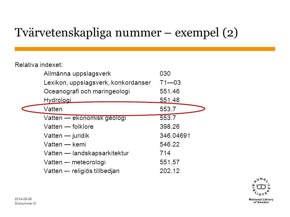 Sidnummer 2014-05-06 32 Prioritetsanvisningar och prioritetstabeller Särskilda anvisningar i schemat för vilket nummer som ska föredras Gäller före de generella reglerna