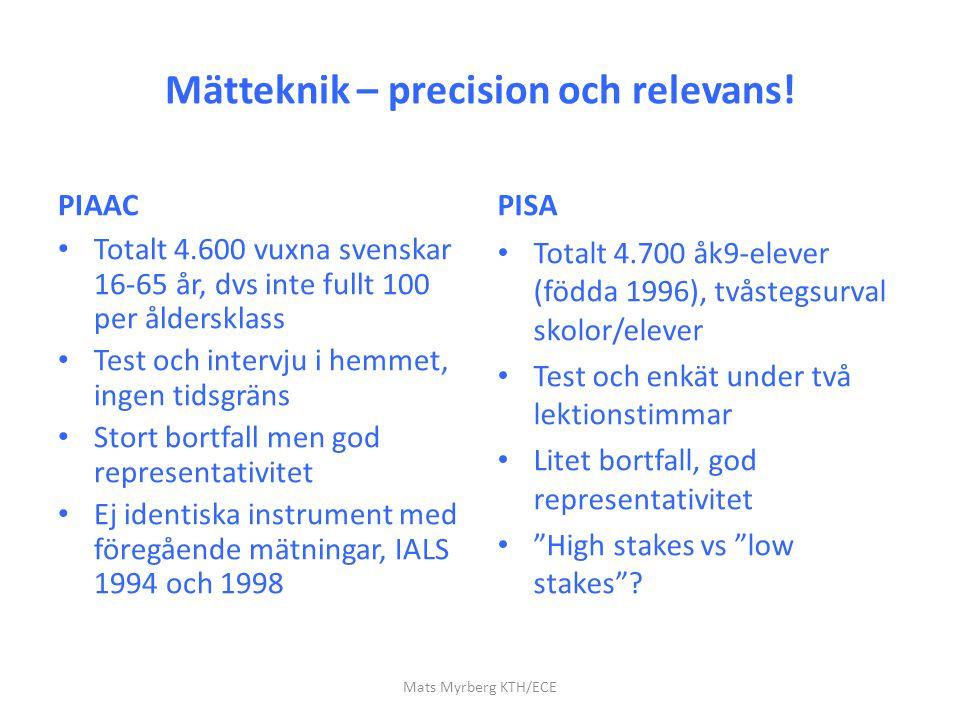 Mätteknik – precision och relevans! PIAAC Totalt 4.600 vuxna svenskar 16-65 år, dvs inte fullt 100 per åldersklass Test och intervju i hemmet, ingen t