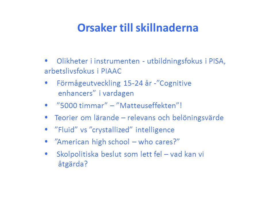 """Orsaker till skillnaderna  Olikheter i instrumenten - utbildningsfokus i PISA, arbetslivsfokus i PIAAC  Förmågeutveckling 15-24 år -""""Cognitive enh"""