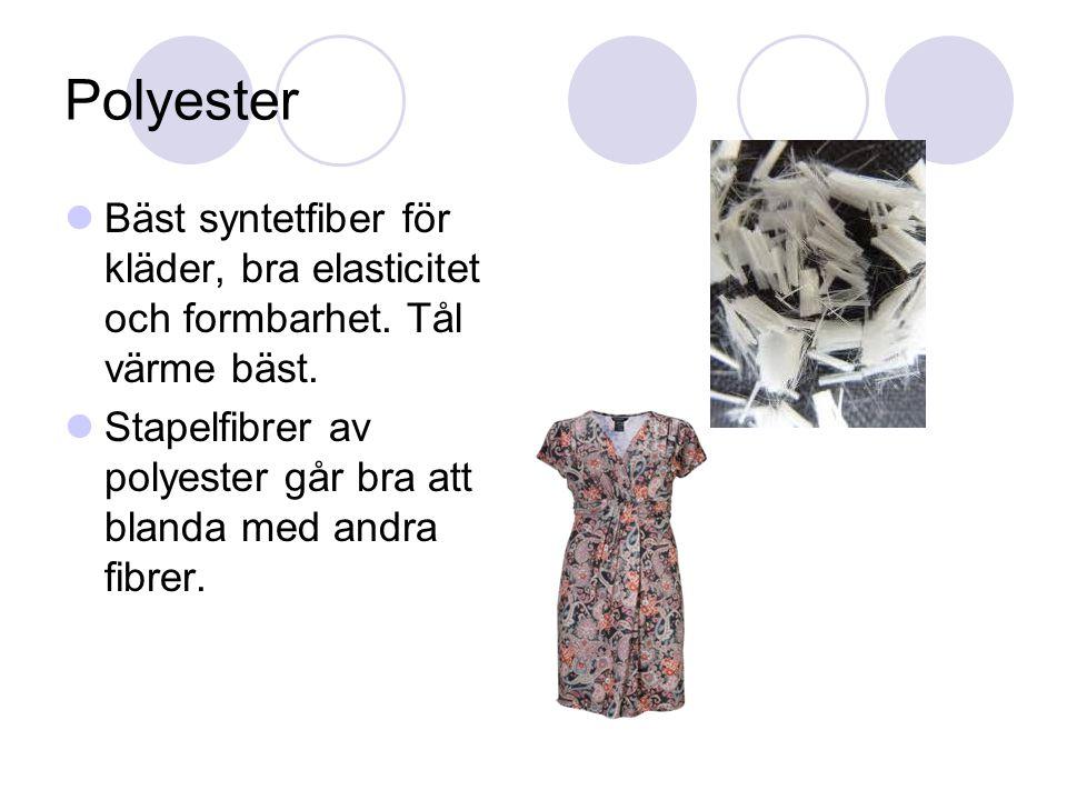 Polyester Bäst syntetfiber för kläder, bra elasticitet och formbarhet.