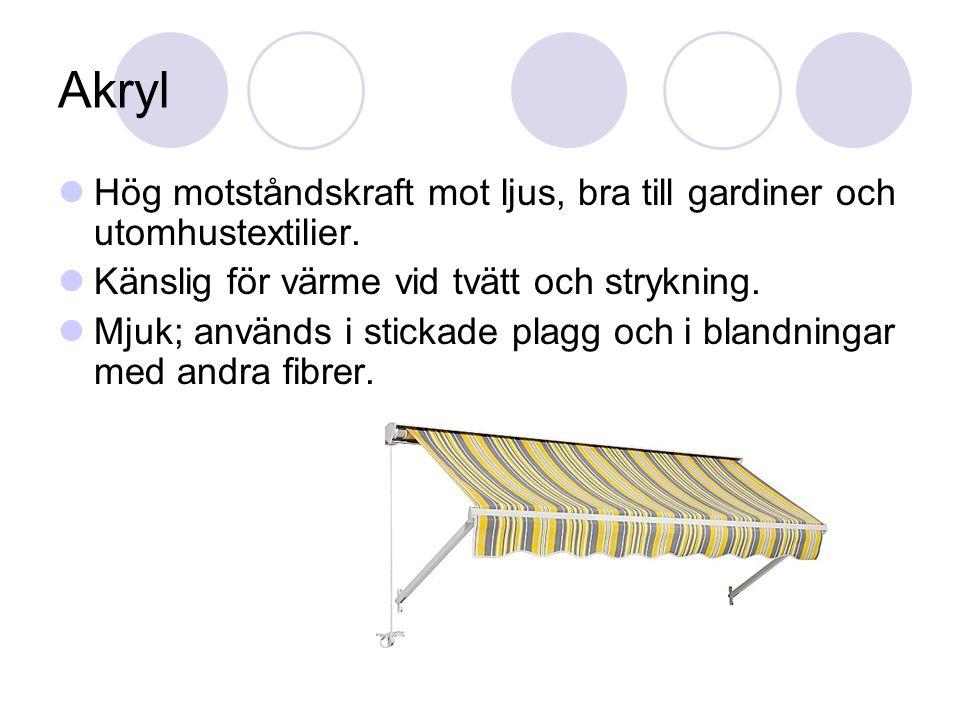 Akryl Hög motståndskraft mot ljus, bra till gardiner och utomhustextilier.