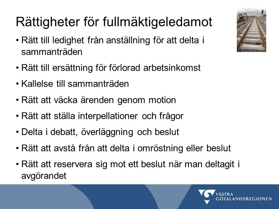 Rättigheter för fullmäktigeledamot Rätt till ledighet från anställning för att delta i sammanträden Rätt till ersättning för förlorad arbetsinkomst Ka