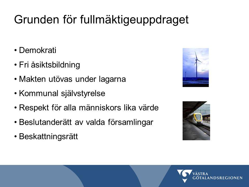 Regionfullmäktiges särställning Det enda folkvalda organet Det högsta beslutande organet i Västra Götalandsregionen 149 ledamöter Offentliga möten 7 ggr/år i Vänersborg