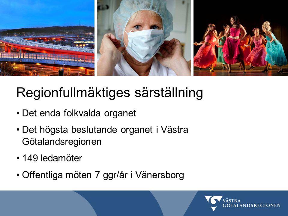 Regionfullmäktiges särställning Det enda folkvalda organet Det högsta beslutande organet i Västra Götalandsregionen 149 ledamöter Offentliga möten 7 g