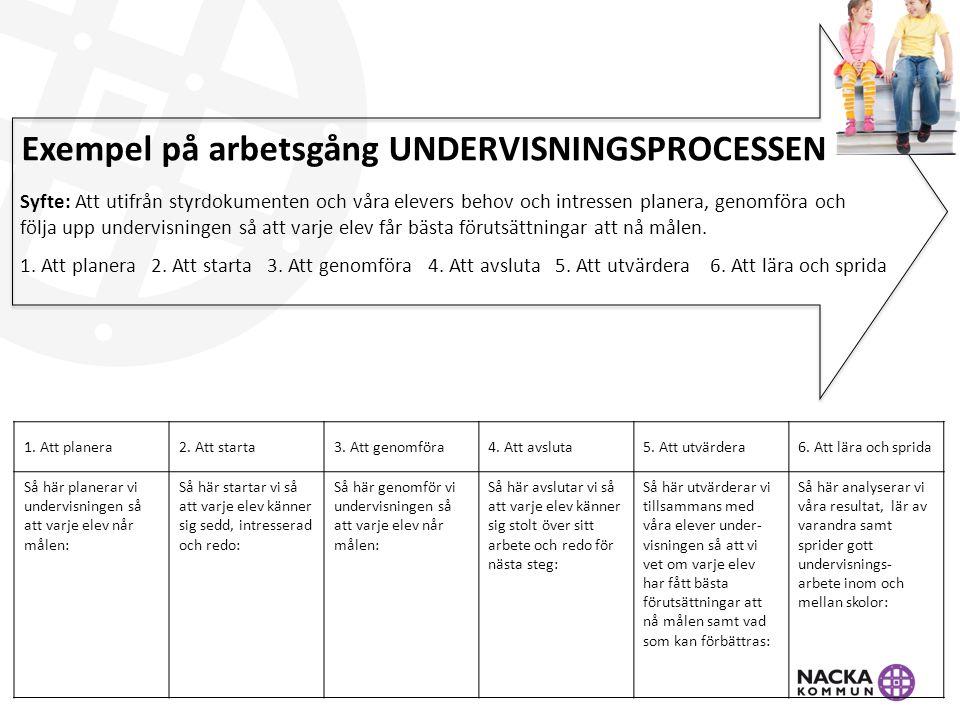 Exempel på arbetsgång UNDERVISNINGSPROCESSEN Syfte: Att utifrån styrdokumenten och våra elevers behov och intressen planera, genomföra och följa upp u