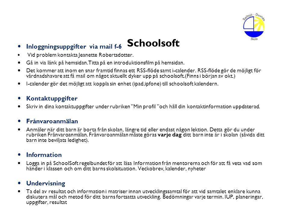 Schoolsoft Inloggningsuppgifter via mail f-6 Vid problem kontakta Jeanette Robertsdotter. Gå in via länk på hemsidan.Titta på en introduktionsfilm på