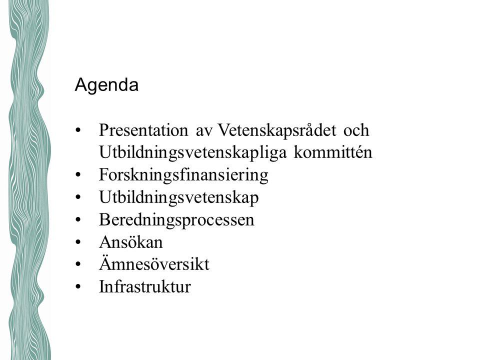 Agenda Presentation av Vetenskapsrådet och Utbildningsvetenskapliga kommittén Forskningsfinansiering Utbildningsvetenskap Beredningsprocessen Ansökan