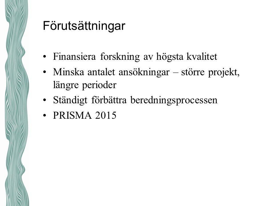 Förutsättningar Finansiera forskning av högsta kvalitet Minska antalet ansökningar – större projekt, längre perioder Ständigt förbättra beredningsproc