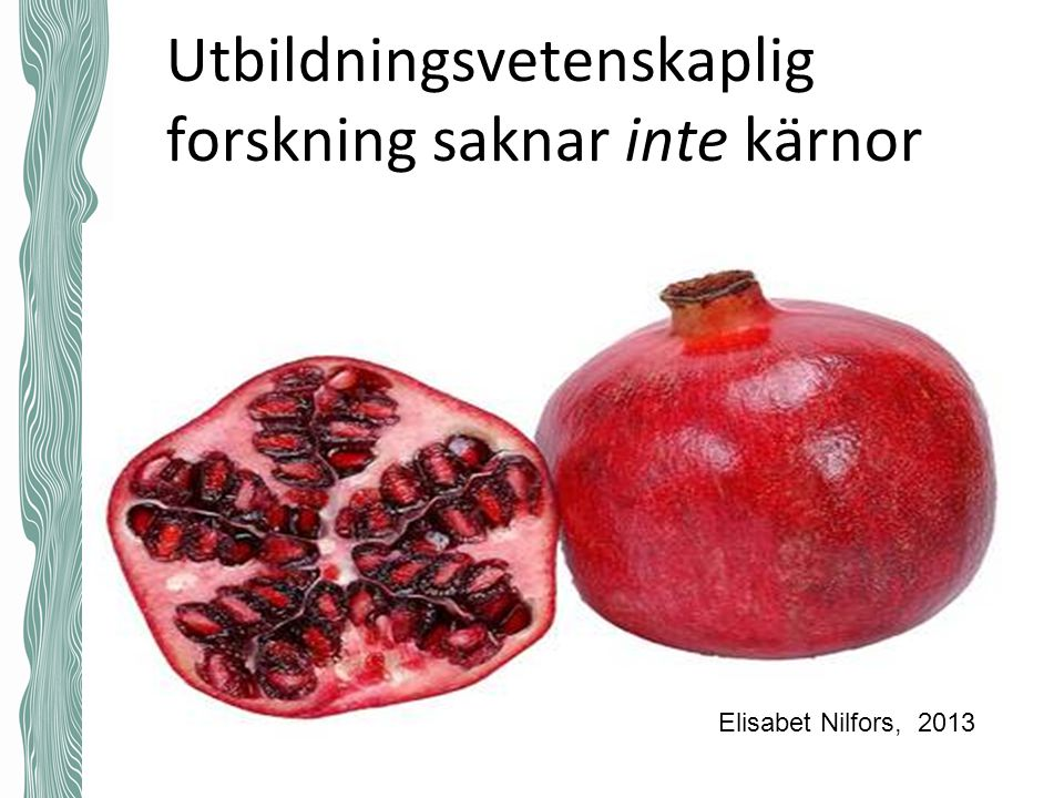 Utbildningsvetenskaplig forskning saknar inte kärnor Elisabet Nilfors, 2013