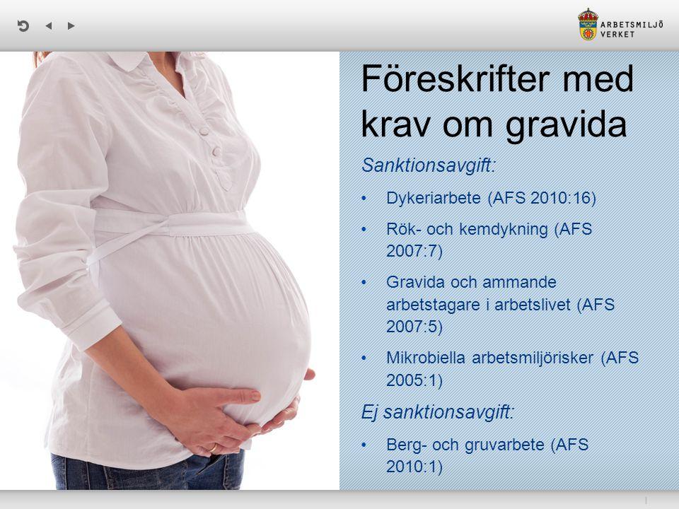 | Föreskrifter med krav om gravida Sanktionsavgift: Dykeriarbete (AFS 2010:16) Rök- och kemdykning (AFS 2007:7) Gravida och ammande arbetstagare i arbetslivet (AFS 2007:5) Mikrobiella arbetsmiljörisker (AFS 2005:1) Ej sanktionsavgift: Berg- och gruvarbete (AFS 2010:1)