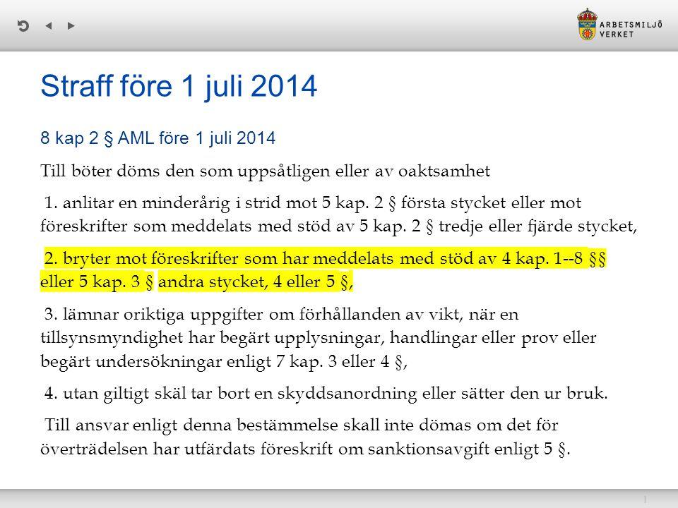 | Straff före 1 juli 2014 8 kap 2 § AML före 1 juli 2014 Till böter döms den som uppsåtligen eller av oaktsamhet 1.